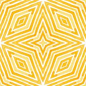 Orange Geometric Watercolor. Delicate Seamless Pattern. Hand Drawn Stripes. Brush Texture. Exotic Ch poster