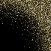 Gold Sparkles Glitter Dust Metallic Confetti Vector Background. Rich Golden Sparkling Background. Go poster