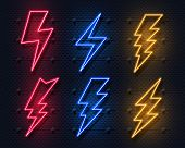 Neon Lightning Bolt. Glowing Electric Flash Sign, Thunderbolt Electricity Power Icons. Vector Lightn poster