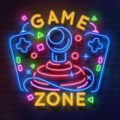 Retro Game Neon Sign. Video Games Night Light Symbol, Glowing Gamer Poster, Gaming Club Banner. Vect poster