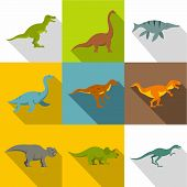 Dinosaur Icon Set. Flat Style Set Of 9 Dinosaur Icons For Web Design poster