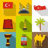 Turkey Things Icon Set. Flat Style Set Of 9 Turkey Things Icons For Web Design poster