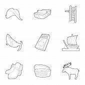 Scandinavia Life Icons Set. Outline Set Of 9 Scandinavia Life Icons For Web Isolated On White Backgr poster