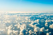 Beautiful Airview With Blue Sky, White Clouds And Sunrays poster