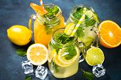 Lemonade Set. Lemonade, Mojito And Orange Lemonade. Iced Summer Drink In Mason Jar With Ingredients  poster