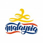 Malaysia Lettering Text Poster. Malaysia Logo In National Flag Colors. Vector Design Concept For Ind poster
