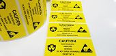 Yellow Caution Label,standard Caution Label With Text caution For Electrostatic Sensitive Devices poster