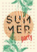 Summer Tropical Party Typographic Grunge Vintage Poster Design With Palm Leaves. Retro Vector Illust poster