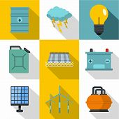 Energetic Icon Set. Flat Style Set Of 9 Energetic Icons For Web Design poster