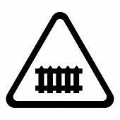Crossing Railroad Barrier Icon . Simple Illustration Of Crossing Railroad Barrier Icon For Web Desig poster