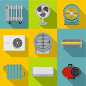 Heating Cooling Air Icon Set. Flat Style Set Of 9 Heating Cooling Air Icons For Web Design poster