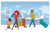 Family Departure Or Arrival In Airport Cartoon Vector Concept. Father Pushing Baggage Trolley With T poster