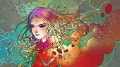 Portrait Of The Beautiful Girl In Colorful Smoke With Anime Style, Illustration Painting poster