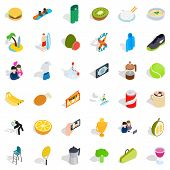 Energetic Icons Set. Isometric Style Of 36 Energetic Icons For Web Isolated On White Background poster