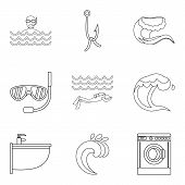 Sinking Icons Set. Outline Set Of 9 Sinking Icons For Web Isolated On White Background poster