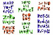 Ecology Cartoon Phrases Set. Zero Waste Lettering. Plastic Free Vector Saying. Environment Protectio poster