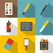 Designer Workspace Icon Set. Flat Style Set Of 9 Designer Workspace Icons For Web Design poster