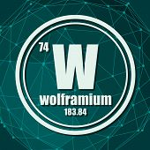 Wolframium Chemical Element. Sign With Atomic Number And Atomic Weight. Chemical Element Of Periodic poster