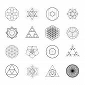 Sacred Geometry Vector Design Elements. Alchemy, Religion, Philosophy, Spirituality, Hipster Symbols poster