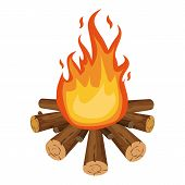 Bonfire Icon. Cartoon Illustration Of Bonfire Icon For Web poster