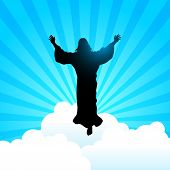 Silhouette Illustration Of Jesus Christ Raising His Hands, For The Ascension Day Of Jesus Christ The poster