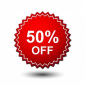 50% Text Banner And Label Sticker Sale Offer And Badge Tag Sale Advertising. Label Discount, Label V poster