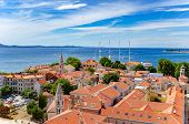 Zadar City From Tower. Zadar Is Famous Tourist Spot At Adriatic Sea Coast In Croatia. poster