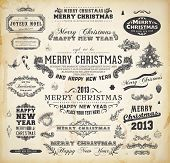 Christmas decoration collection Set of calligraphic and typographic elements, frames, vintage labels