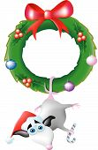 picture of opossum  - an opossum hanging from a Christmas wreath wearing a Santa hat - JPG