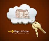 keys of dream house in the cloud vector illustration EPS10.