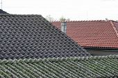 picture of asbestos  - an urban view with old asbestos roof - JPG