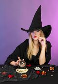 foto of witch ball  - Witch with crystal ball - JPG