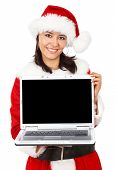 pic of christmas party  - christmas girl displaying a laptop computer  - JPG
