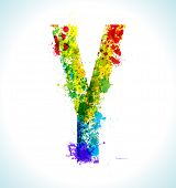 Color paint splashes. Gradient vector font. Letter Y