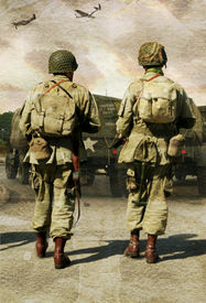 picture of army soldier  - digital coposite of two american second world war soldiers walking towards their jeeps whilst two mustangs fly over head - JPG