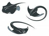 foto of stingray  - Stingray fish mascots in cartoon style isolated on white - JPG