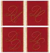 Collection of textile monograms design on a ribbon. DA, DC, DD, DE