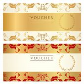 Voucher, Gift certificate, Coupon template with floral border