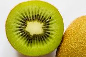 Ripe Kiwi Fruit Cut Half