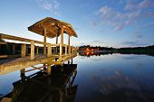 stock photo of dock a pond  - Country lake in north Georgia - JPG