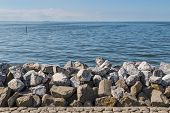 Seawall In The Netherlands Made From Big Basalt Rocks