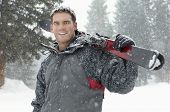 image of cold-shoulder  - Portrait of a confident young man holding skis on shoulder in snow - JPG