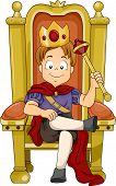 Illustration of a Kid Boy Prince Sitting on His Throne