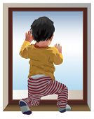 Small one year old child kneel and looking at window, waiting for mama. Color vector illustration.