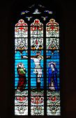 stock photo of crucifiction  - Stained glass window in church of Luxembourg - JPG