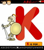 Letter K For Knight Cartoon Illustration