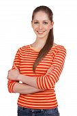 image of debonair  - Beautiful young woman in a striped t - JPG