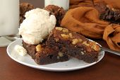 Brownies With Ice Cream And Milk