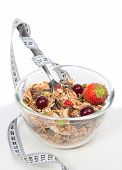 Diet Weight Loss Concept. Muesli Cereal in a  Bowl