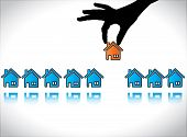 Concept Illustration Of Home Or House Buying: A Hand Silhouette Choosing A Red Colored House For His